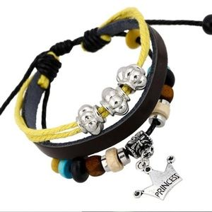 Jewelry - Princess Crown Leather Lace-up Bracelet Wristband
